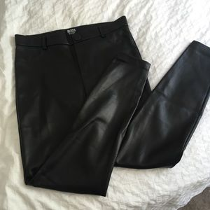 Leggings - faux leather - Zara - Black - XL